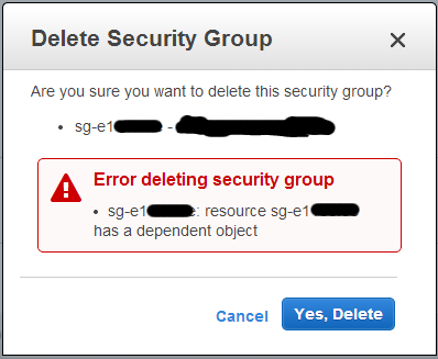 AWS Security Group Dependent Object Error