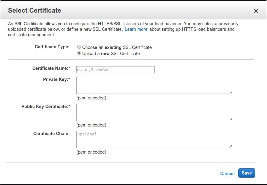 ELB SSL Certificate Dialog